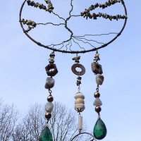 TREE OF LIFE Wire Wrap Windchime wind chime Garden by brambleoak