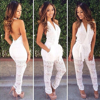 Backless Sexy Transparent Halter Lace V-neck Long Jumpsuits