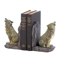 Home Decor Ideas Howling Wolf Bookends