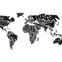 World Word Map - Black and White Art Print by Ink of Me Graphics