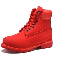 Best Deal Online Timberland 10061 Leather Lace-Up Boot Men Women Shoes Red
