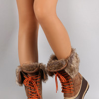 Bamboo Faux Fur Cuff Lace Up Duck Boots | UrbanOG