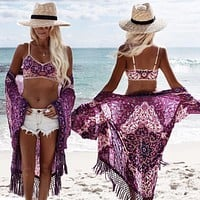 Lilac Crochet Tassels Bikini Cover Up