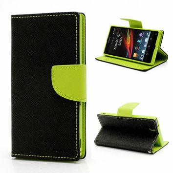 Mercury Fancy Diary Leather Credit Card Wallet Flip Cover Case For Sony Xperia Z L36h Z1 Z2 Z3 Z5 Compact Phone Bag Cases Cover
