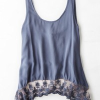 AEO Women's Don't Ask Why Lace Hem Tank