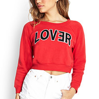 FOREVER 21 Lover Cropped Sweatshirt Red/Black