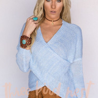 Chunky Oversized Cross Front Sweater In Light Blue