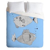 Blue Fish Duvet Cover / Twin, King Queen Size Duvet / Fish Blanket / Fish Duvet / Kids Room Blanket / Fish Bedding