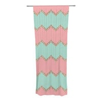 """Monika Strigel """"Avalon Soft Coral and Mint Chevron"""" Orange Green Sheer Curtain - Outlet Item"""