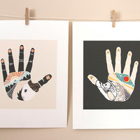 The Something Hand and The Nothing Hand, art print combo 8x10
