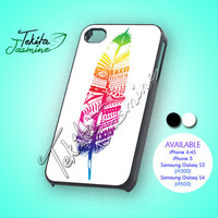 aztec colorful feather - iPhone 4/4s/5 Case - Samsung Galaxy S3/S4 Case - Black or White