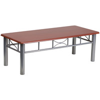 Flash Furniture Mahogany Laminate Coffee Table with Silver Steel Frame [JB-5-COF-MAH-GG]
