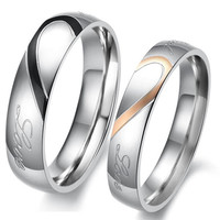 Heart Shape Matching Titanium Promise Ring for Couple 316L Stainless Steel Wedding Bands Rings #sclm wish store# = 1929540484
