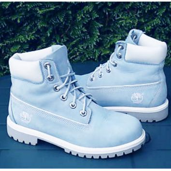 Timberland Rhubarb boots for men and women shoes waterproof Martin boots lovers Light blue-white