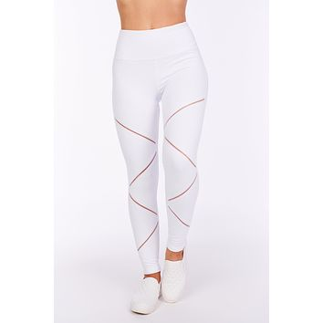 Came Here To Play Mesh Athletic Leggings (White)