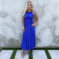 Tie It Up Maxi Dress In Royal Blue