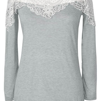 Cupshe Shines Through Clouds Lace Splicing Top