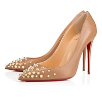 Cl Christian Louboutin Spikyshell Nude/light Gold Leather 18s Pumps 1180580n013