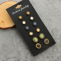 6 Pairs/set Fashion Simple Gems Earrings 171120