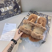 Dior autumn and winter new products plush slippers shoes