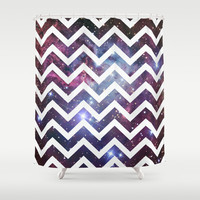 Nebula Chevron Shower Curtain by RexLambo
