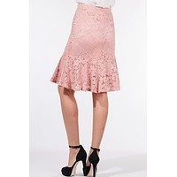 High Waisted Floral Lace Midi Skirt