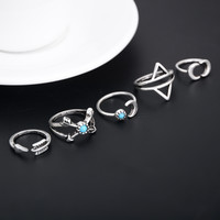 5Pcs Vintage Beach Punk Moon Arrow Rings Set Ethnic Carved Antique Silver Boho Midi Finger Ring For Women Jewelry