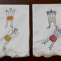 French Embroidered Tea Towels, Parisian Chairs, Lot of 2,  Vintage Pair of Guest Towels