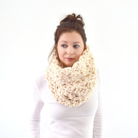 Knit Chunky Woman Lace Cowl Scarf | The Florence
