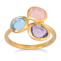 14k Gold Vermeil Abstract Stone Ring