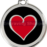 Red & Black Heart Enamel and Stainless Steel Personalized Custom Pet Tag with LIFETIME GUARANTEE ID Tag Dog Tags and Cat Tags Free Engraving
