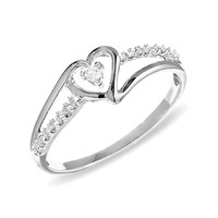 Heart-Shaped Diamond Accent Ring in 10K White Gold