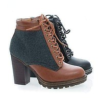 Tracker02 By Bamboo, Wool Round Toe Lace Up Block High Heel Ankle Boots