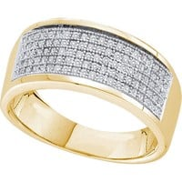10k Yellow Gold Mens Round Diamond Micropave Wedding Anniversary Band Ring 1/3 Cttw 49975