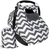 Baby Car Seat Covers for Girls and Boys, Infant Canopy WITH Window-Flap System AND Bag