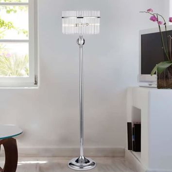 Brunella Chrome 3-Light Floor Lamp with Crystal Clear Shade | Overstock.com Shopping - The Best Deals on Floor Lamps