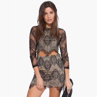 Lace Embroidered Crop Top And Mini Skirt