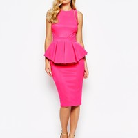 Forever Unique Structured Peplum Pencil Dress With Multi Strap Back