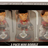 Chicago Blackhawks 2013 Stanley Cup Champions 3pk Mini Big Head Bobblehead Set-Jonathan Toews-Patrick KaneCorey Crawford