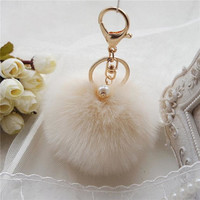 Best Deal New Good Quality Women Girl Lovely Fur Ball Keychain Bag Plush Car Key Ring Car Key Pendant Gift 1PC