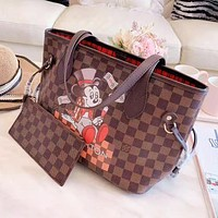 LV Louis Vuitton Women Leather Mickey Mouse Pattern Handbag Shoulder Bag Satchel Wallet Purse Two Piece Set