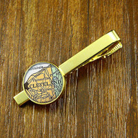 Tie clips,Golden Map Tie clips ,USA city map Tie Clips,Vintage  CLEVELAND    map  Tie clips ,Weeding gift,personnality gift,