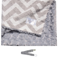 """Baby Laundry 92324 Soft Minky Gray Chevron Baby Blanket 36""""x30"""" with Pacifier Clip"""