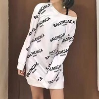 balenciaga casual fashion letter print long sleeve medium long section sweater mini dress