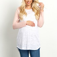 Light-Pink-Colorblock-Sleeve-Maternity-Top