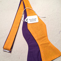 Handmade Two-Sided Orange Pattern and Solid Purple Bow Tie