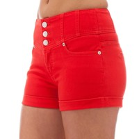 Classic Designs Juniors High Waisted 5 Pocket Stretch Cotton Short Shorts in Risk Red Size: 28