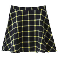 Blue And Yellow Plaid High Waist Skater Skirt