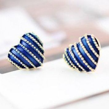 Chic Blue Heart Stripe Stud Earrings at Online Jewelry Store Gofavor