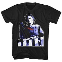 Halloween Tall T-Shirt Michael Myers Holding Bloody Knife Black Tee